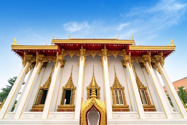 The beautiful thai buddhist temple is a holy place for the thai people.