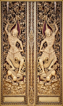 Beautiful thai engrave art in public temple