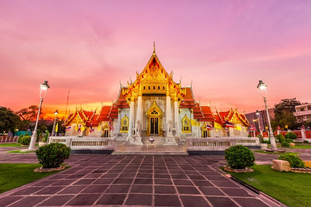 Beautiful thai marble temple (wat benchamabophit) during twilight sunset time in bangkok, thailand.