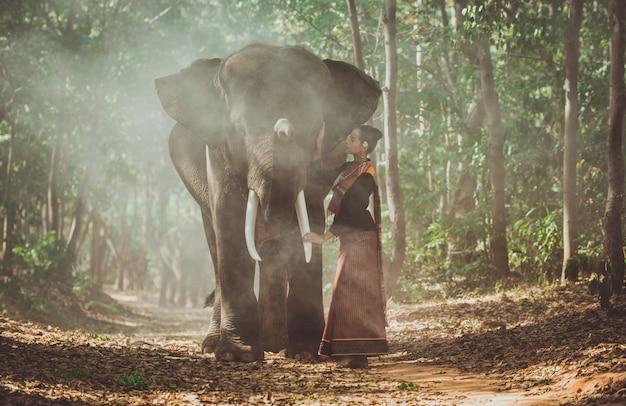 ジャングルの中で象と過ごす美しいタイの女性
