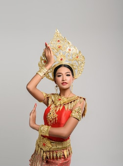 Beautiful thai woman wearing thai dress and thai dance