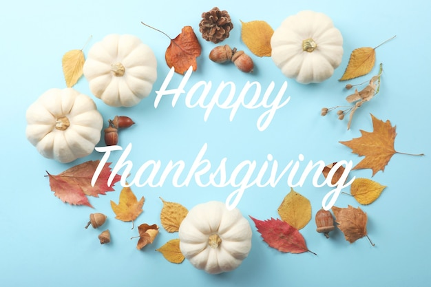 Beautiful thanksgiving background top view on a light background closeup