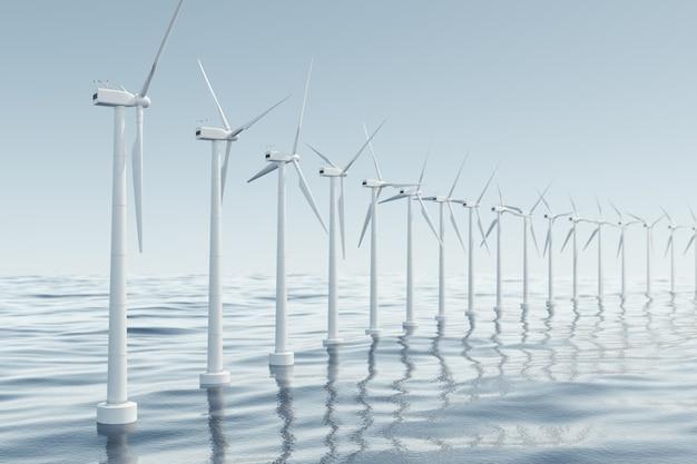 바다, 바람에 아름 다운 바람 터빈. 청정 에너지, 풍력 에너지, 생태 개념. 3d 렌더링