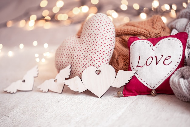 Beautiful things for decoration for valentine's day on a blurred background with boke.