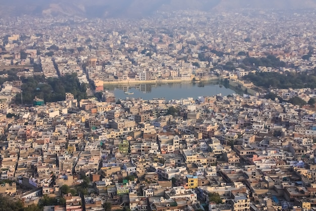 Beautiful top view landscape of the city of jaipur in rajasthan india