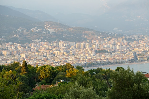 Beautiful tourist city in turkey, view of alanya with the sea. high quality photo