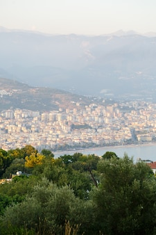 Beautiful tourist city in turkey view of alanya with the sea
