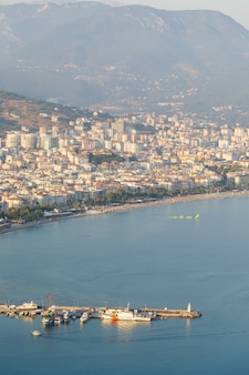 Beautiful tourist city in turkey, view of alanya with the sea