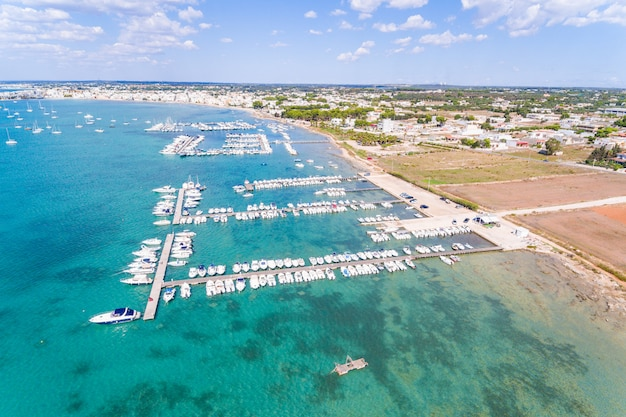 Beautiful tourist port aerial view with emerald water