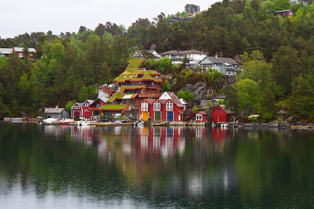 Beautiful town in the norway fjiord