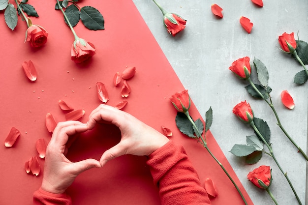 Beautiful trendy geometric flat lay in red and natural colors with coral color roses. female hands in fluffy red fleece showing heart shape sign up over.