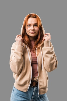 Beautiful trendy woman wearing hoodie