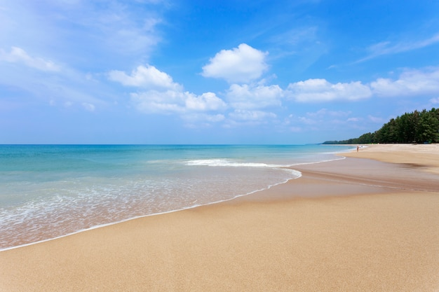 Beautiful tropical beach andaman sea and clear blue sky background