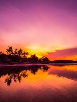 Красивый тропический пляж море и океан с кокосовой пальмой во время восхода солнца