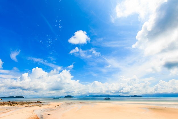 Beautiful tropical beach and sea in summer sky day