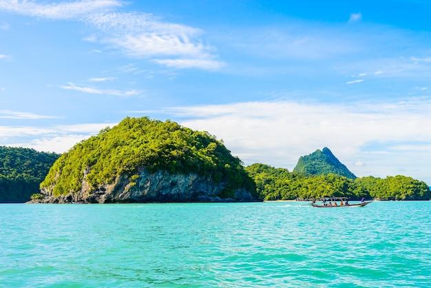 Beautiful tropical island , beach , sea , and ocean