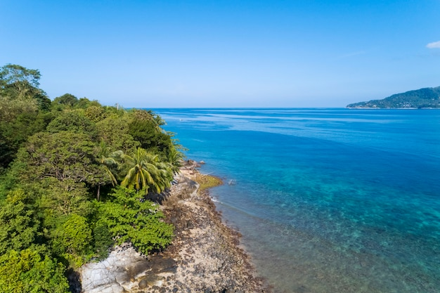 Beautiful tropical sea in summer season image by aerial view drone shot