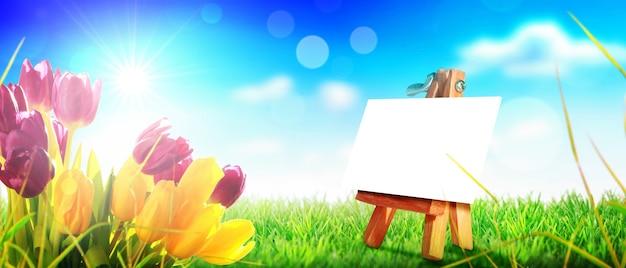 美しいチューリップ。 web バナーとカード デザインの春の自然の背景。