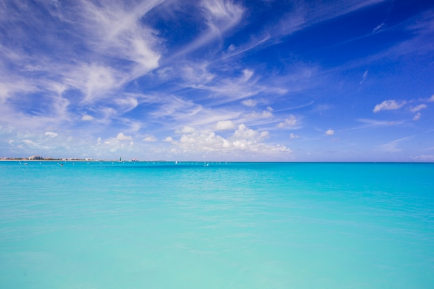 Beautiful turquoise clean water and blue sky