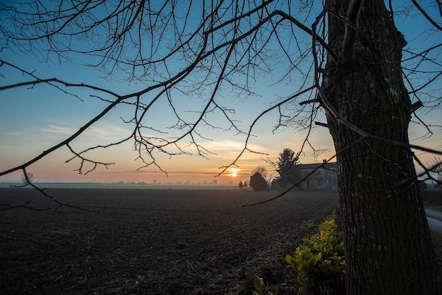 이탈리아 북동쪽 겨울 시골의 아름다운 황혼