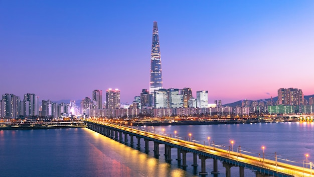 Beautiful twilight of seoul city at sunset and han river south korea