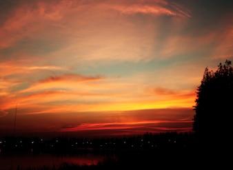 Beautiful Twilight Sunset Evening Landscape