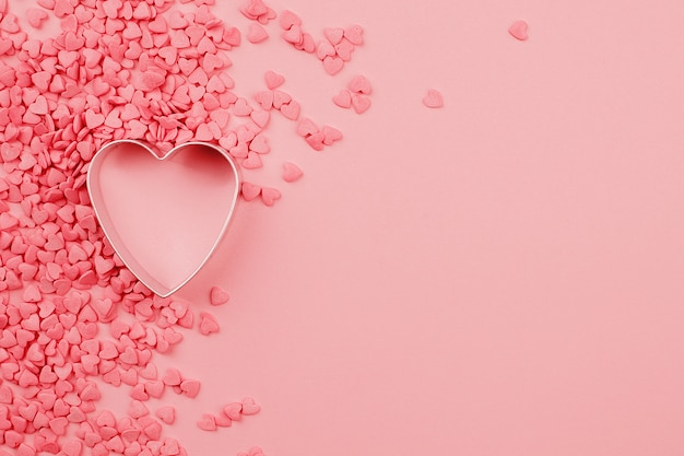 Beautiful valentines day background with baked mold heart-shaped