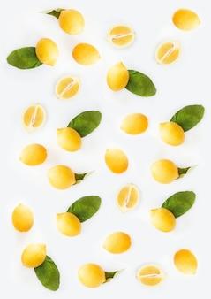 흰색 배경으로 레몬의 아름다운 세로 그림