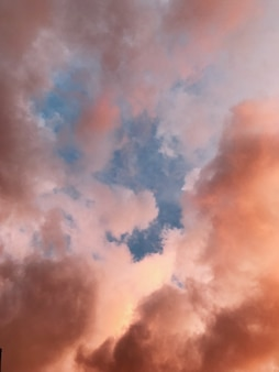 Bello colpo verticale di un cielo con le nuvole rosa