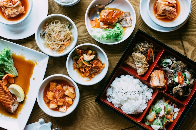 Beautiful vibrant shot of traiditonal korean meals