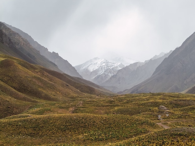 Beautiful view of aconcagua mountain from the valley of aconcagua national park, mendoza, argentina