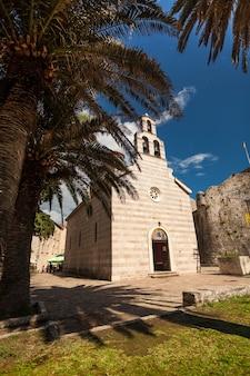 Beautiful view of ancient church at tropic island