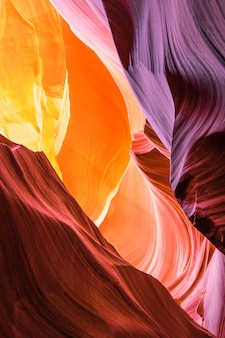 Beautiful view of antelope canyon sandstone formations in famous navajo tribal national park near page, arizona, usa