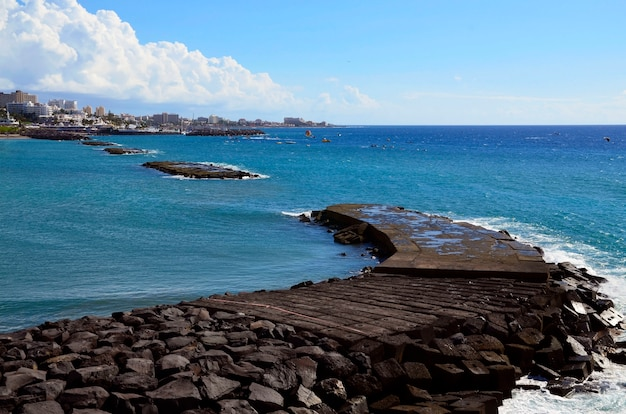 Beautiful view on atlantic ocean and costa adeje,tenerife,canary islands,spain.