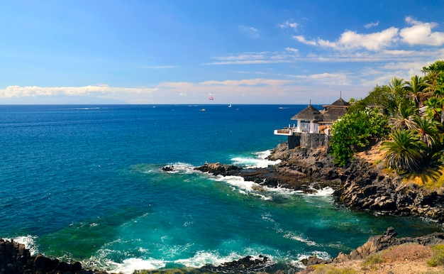 Beautiful view on atlantic ocean and costa adeje, tenerife, canary islands.