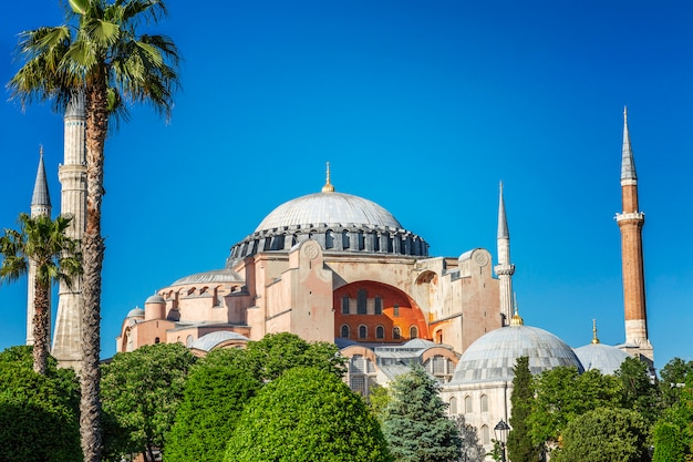 Beautiful view of aya sofia on a sunny clear day. bright blue sky, magnificent landscape.