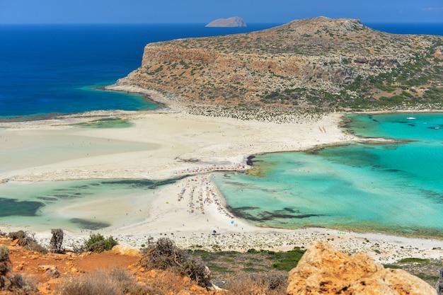 Beautiful view of balos lagoon in crete island greece