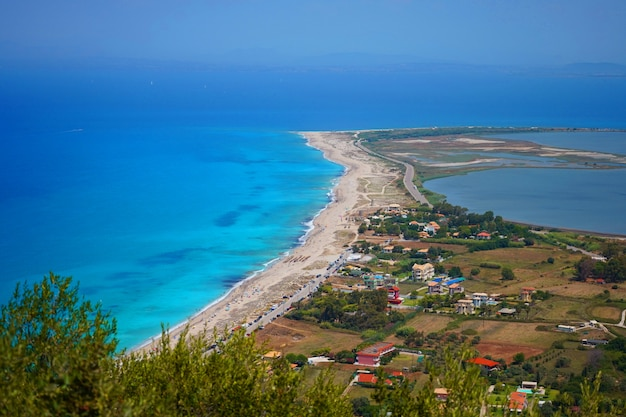 Beautiful view of the beach and the blue mediterranean sea. view from the mountain. lefkada, greece