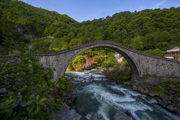 Beautiful view of the bridge captured in village arhavi kucukkoy, turkey