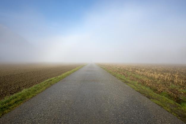 Bella vista di una strada in cemento con un campo ai lati ricoperto da una fitta nebbia