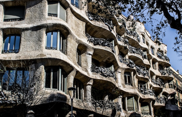 Beautiful view of the famous casa mila in barcelona, spain