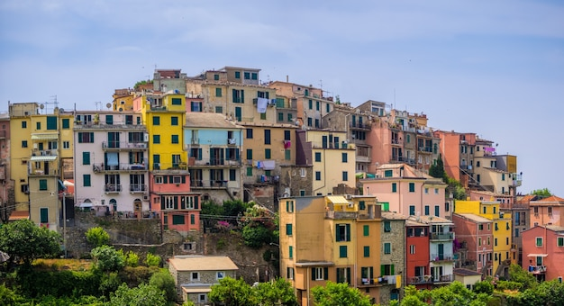 Beautiful view of the famous corniglia village in cinque terre national park in italy