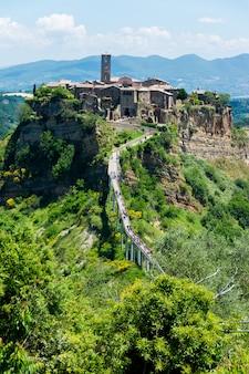 Beautiful view on the famous dead town of civita di bagnoregio, italy