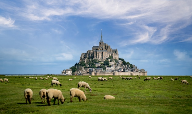 Beautiful view of famous historic le mont saint-michel tidal island