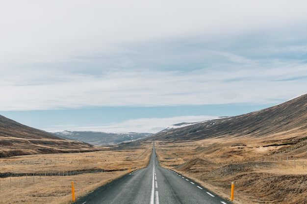 Beautiful view of the famous ring road in the middle of mountainous scenery in iceland