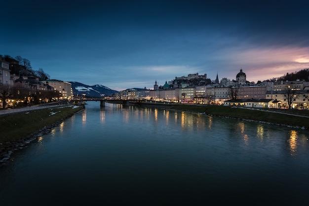 Beautiful view from bridge on sunset over salzburg, austria