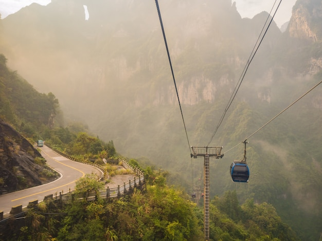 Beautiful view from cable car to tianmen mountain