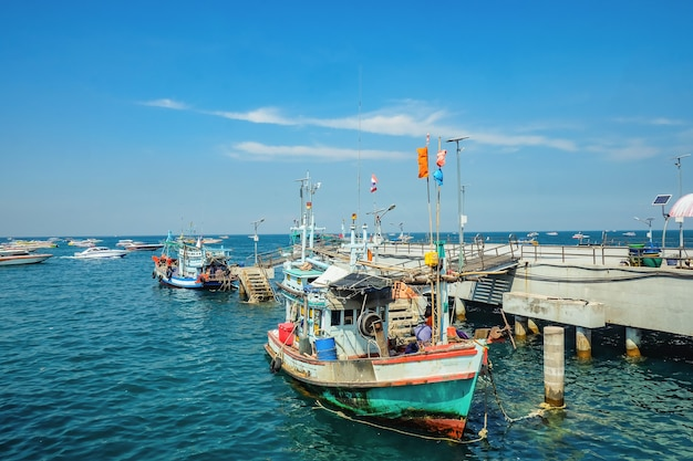 Beautiful view from koh lan island pier with fisherman boat park near the pier.