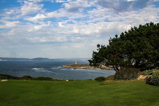 Beautiful view from mount san pedro to the city of a coruña