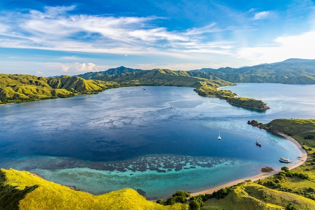 Beautiful view from the top of gili lawa darat island in the evening with blue sky in komo